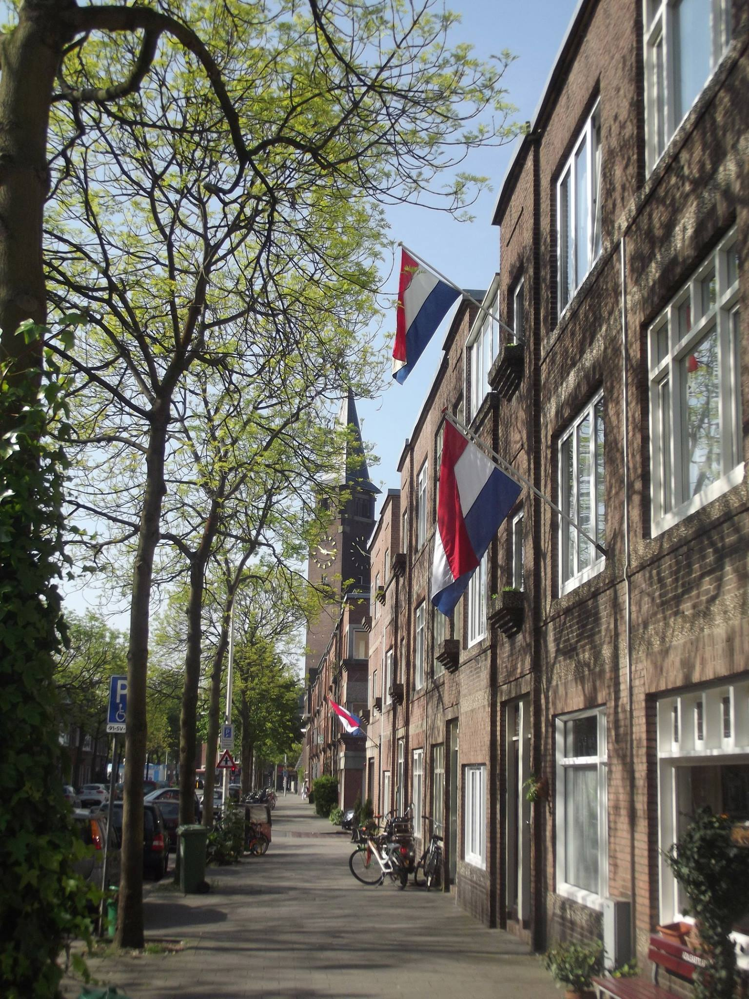 Dutch Flags flying in the street on Liberation Day, May 5.